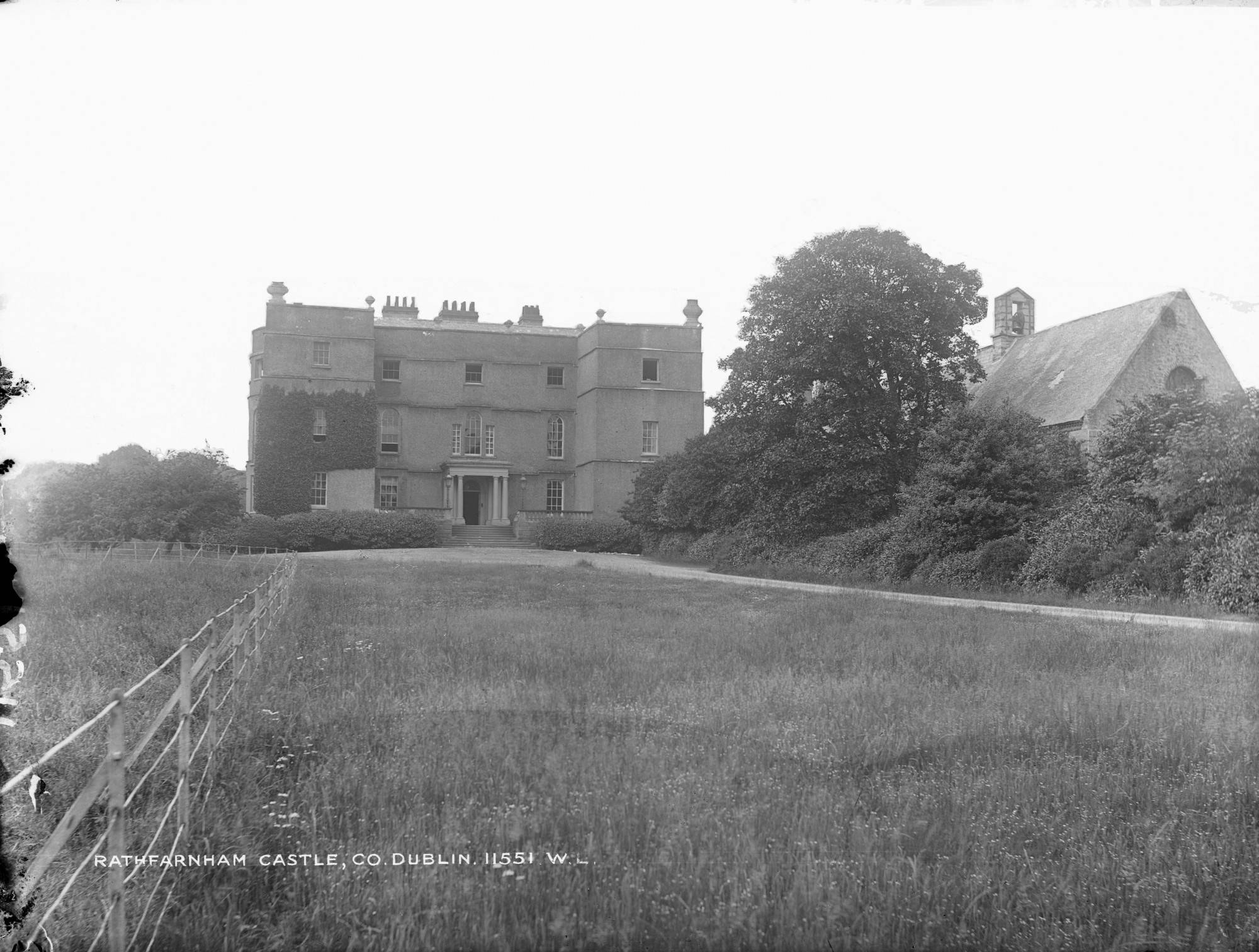 Rathfarnham Castle photographed by Robert French for the Lawrence Collection, around 1900. National Library of Ireland.