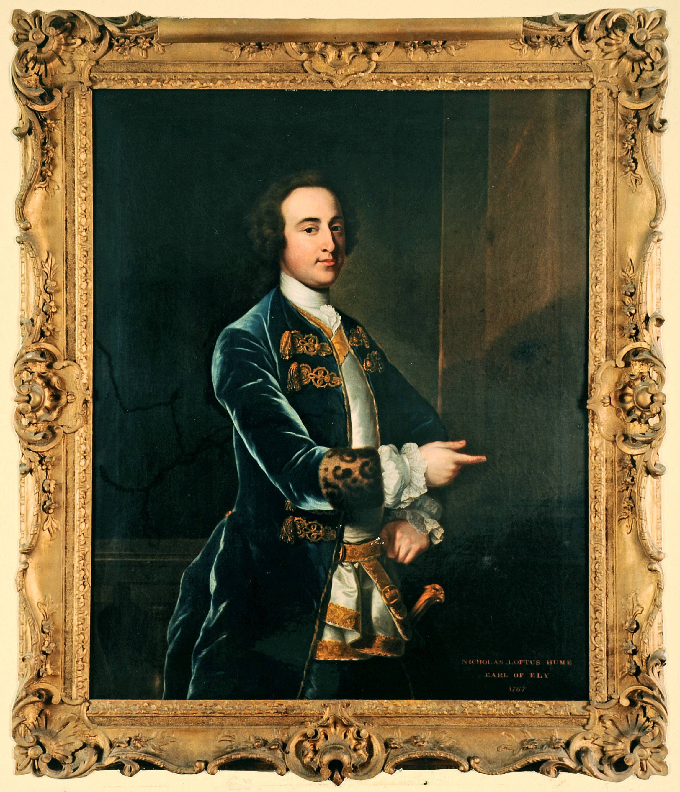 This portrait is of Nicholas Loftus Hume, 2nd Earl of Ely and is attributed to Robert Hunter. The painting is in a private collection, and the image is courtesy of Simon Loftus.